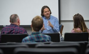 "Josh Campbell, a professional storyteller with Spillit Memphis, recently helped each ""Telling Oxford"" participant create a short, compelling narrative about their experience with addiction and recovery at a recent on campus workshop. Photo by Robert Jordan/University Communications."