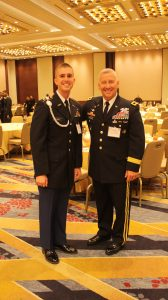 UM Army ROTC senior Dustin Dykes (left) shares a moment with Maj. Gen. Christopher Hughes, Commander of the Army's Cadet Command during the recent luncheon. (Submitted photo)
