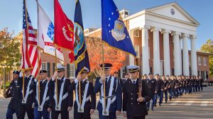 Members of UM Army ROTC Program marched past the Lyceum during the Pass in Review ceremony Thursday. Photo by Robert Jordan, UM Imaging Services