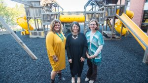 (left to right) Pam Swain, Sarah Langley and Amanda Winburn worked together to coordinate the donation of the Willie Price playground.Photo by Kevin Bain/Ole Miss Communications