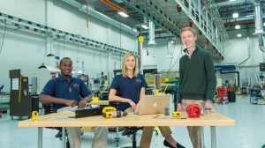 Members of the UM chapter of the Collegiate Automotive Manufacturing Society include (from eft) Joseph Reed, a mechanical engineering major; Taylor Scism, a buiiness management major; and Tyler Thompson, who is majoring in mechanical engineering. Photo by Kevin Bain/Ole Miss Communications