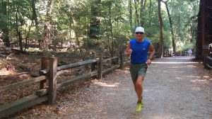 John Gee often trains for races on the dirt paths of Henry Cowell Redwood Forest in Santa Cruz, California. Submitted photo