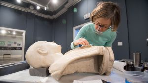 Conservator Completes Work on Three Marble Busts at UM Museum