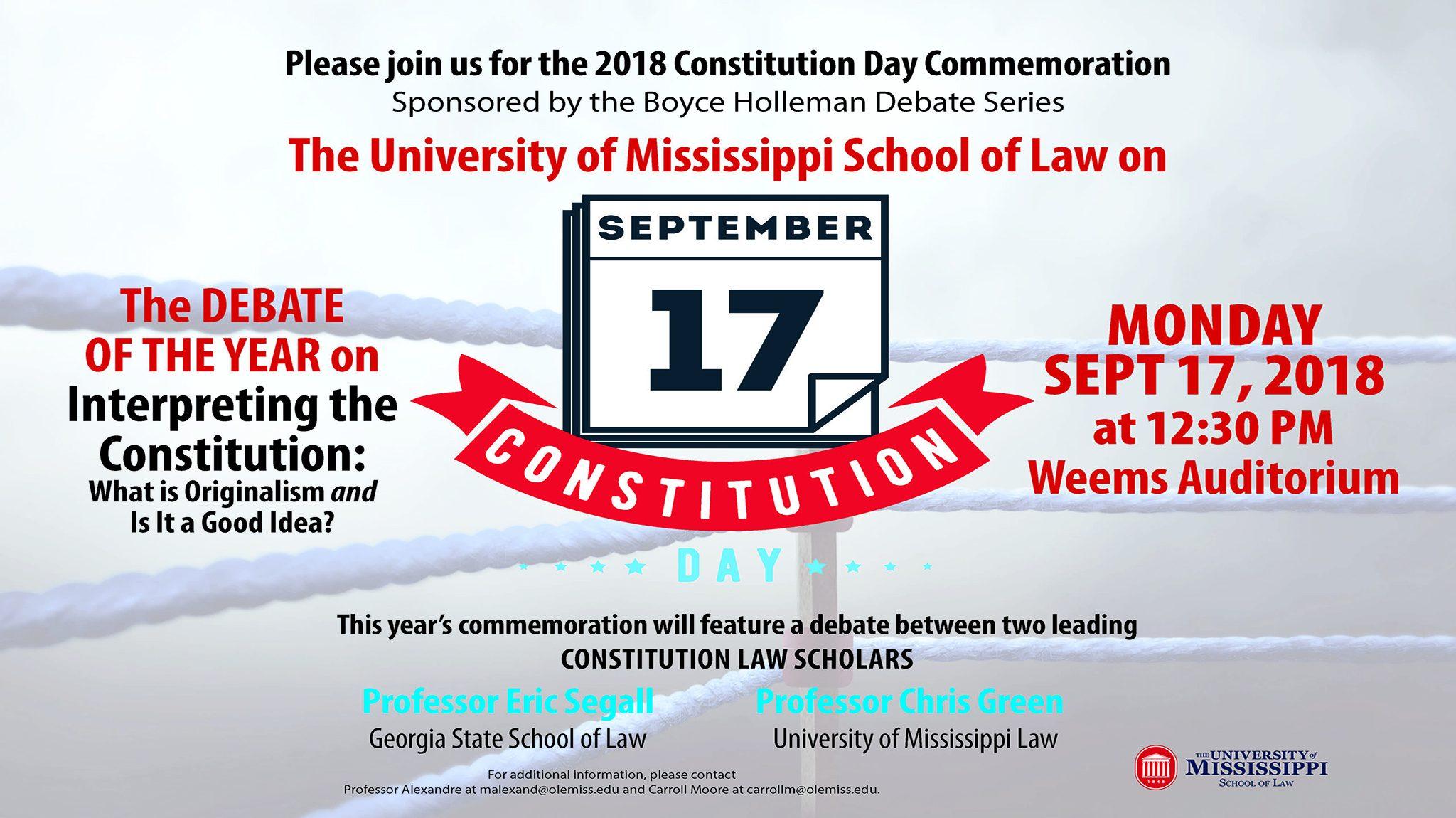 law school to host originalism debate in constitution day observance