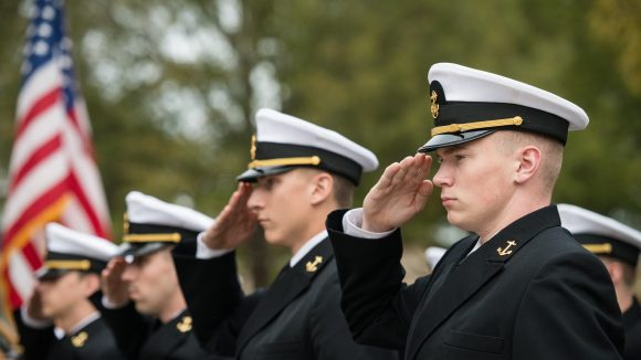 Officer Trainees on Display During ROTC Pass in Review