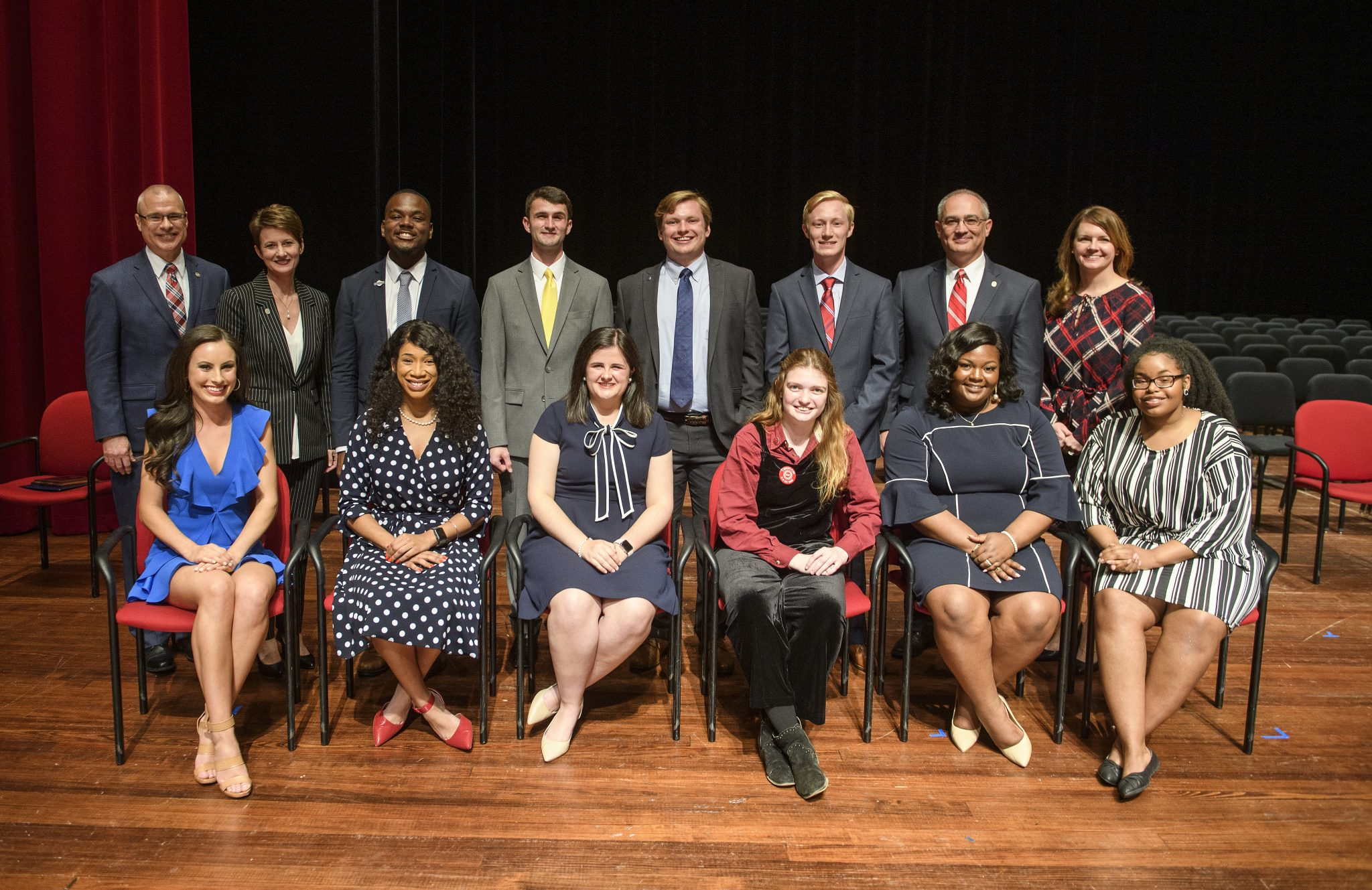 The 2019 University of Mississippi Hall of Fame. Pictured are (front row, from left) Blair Wortsmith, of Little Rock, Arkansas; Makala McNeil, of Grenada; Mallie Imbler, of Tupelo; Jaz Brisack, of Oxford; Skylyn Irby, of Batesville; Randon Hill, of Oxford; (top row from left) UM Provost Noel Wilkin; UM Vice Chancellor for Student Affairs Brandi Hephner LaBanc; Jarvis Benson, of Grenada; Levi Bevis, of Florence, Alabama; Elam Miller, of Murfreesboro, Tennessee; Jacob Ferguson, of Randolph; UM Interim Chancellor Larry Sparks and UM Assistant Vice Chancellor and Dean of Students Melinda Sutton Noss. Photo by Thomas Graning/Ole Miss Digital Imaging Services