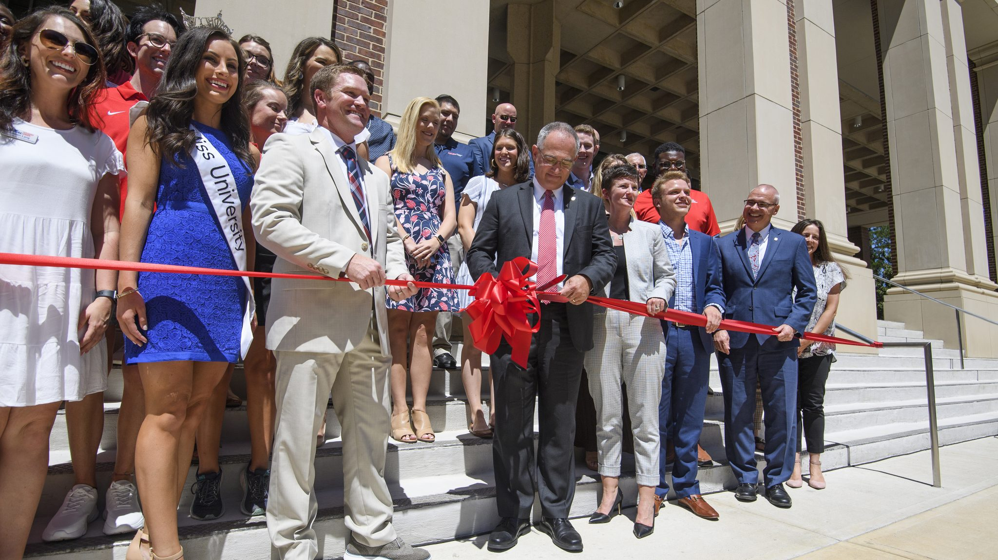 University of Mississippi officials cut the ribbon on the expanded and renovated Ole Miss Student Union on Thursday, Aug. 29, 2019. Photo by Thomas Graning/Ole Miss Digital Imaging Services