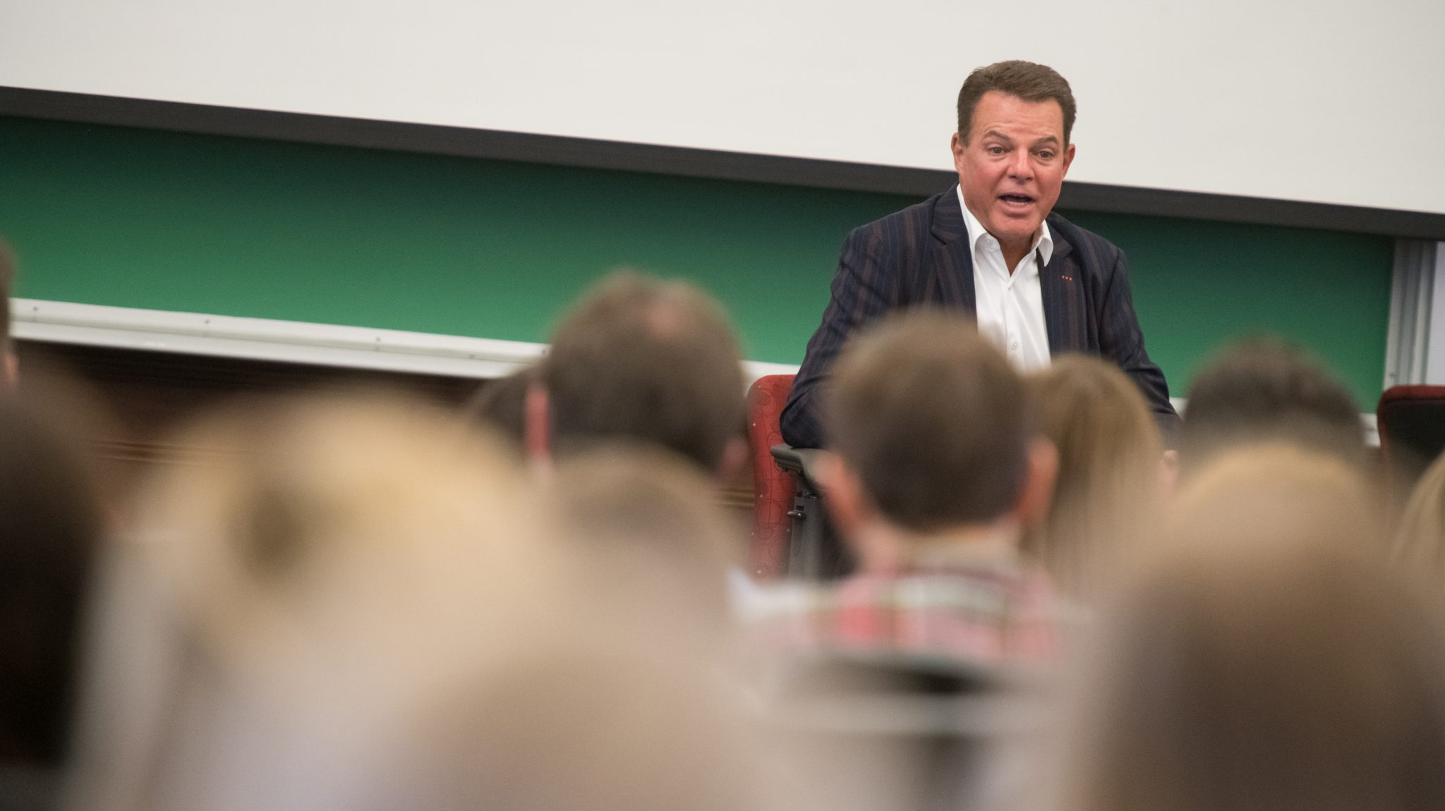 Famed broadcast journalist and University of Mississippi alumnus Shepard Smith returned to Ole Miss Friday (Oct. 18) to speak to a roomful of journalism and integrated marketing and communications students at the School of Journalism and New Media. Photo by Kevin Bain/Ole Miss Digital Imaging Services