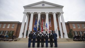 University of Mississippi ROTC cadets, midshipmen and Marines present the colors at the pass in review Thursday, Nov. 14, 2019 for UM Chancellor Glenn Boyce. Photo by Thomas Graning/Ole Miss Digital Imaging Services