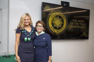 Vanlandingham, left, gets her photo taken with Sylvia Acevedo, Chief Executive Officer of Girl Scouts of the USA. Photo courtesy of Girl Scouts of the USA