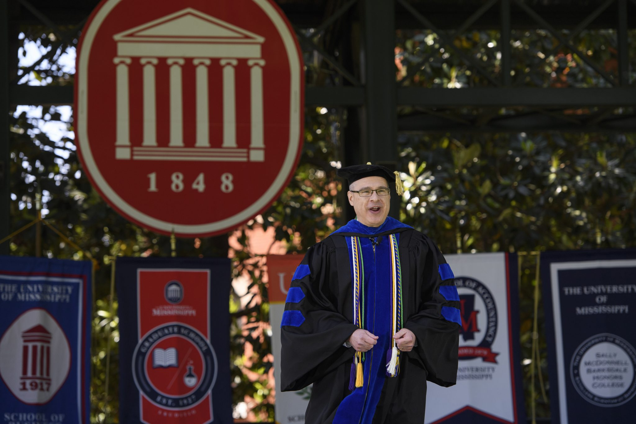 Noel Wilkin, provost and executive vice chancellor for academic affairs, participates in a live, virtual event Saturday (May 9) from the Grove stage to celebrate graduates in the Class of 2020. Photo by Thomas Graning/Ole Miss Digital Imaging Services